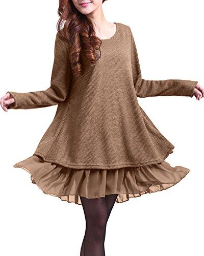 ZANZEA Jersey Mujer Jumper Suéter Larga Tops Vestidos de Encaje para Vestido Lazo Elegant Fiesta de Noche Suéter de Punto para Mujeres Otoño Invierno Tallas Grandes Caqui-399848 XL