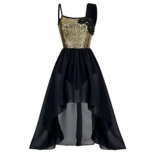 IMEKIS Vestido de baile lírico para mujer, sin mangas, con lentejuelas, para gimnasia, falda alta-baja, contemporánea, moderno, de ballet, de gasa, para bailar, disfraz de baile, Negro, L