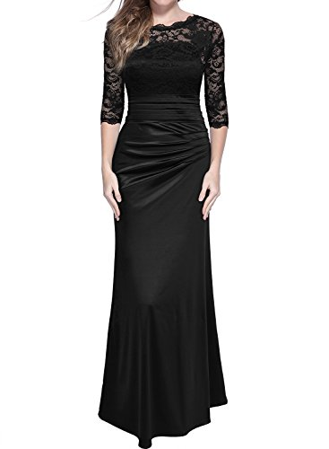 Miusol Elegante Encaje Largo Fiesta Vestido para Mujer Negro Large