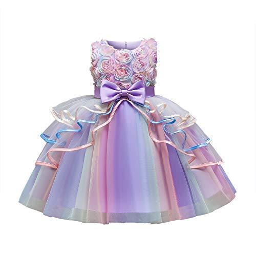 TTYAOVO Vestido de Princesa de Encaje para Niña Vestido de Tul de Arco Iris para Fiesta de Boda con Flores Talla110 (3-4 años) 736 Morado