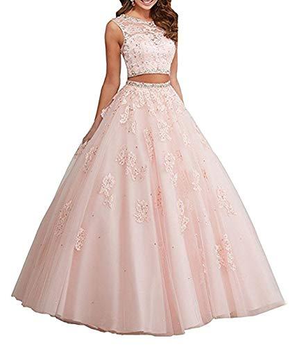 XUYUDITA Vestido de Bola de Encaje Largo de Dos Piezas Rhinestones Quinceanera Vestidos de Fiesta Vestidos de Fiesta Rosa-36