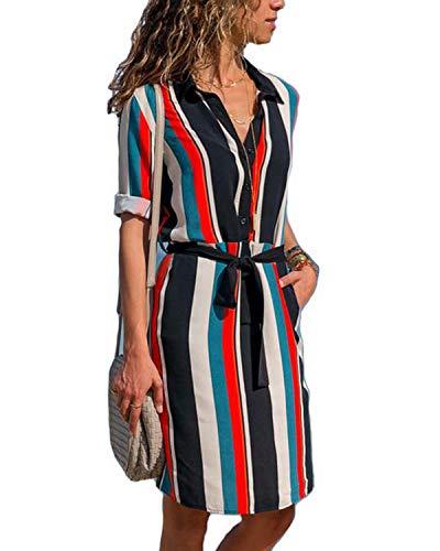 kenoce - Vestido de manga larga para mujer, cuello en V, liso, túnica, casual, larga, con cinturón/bolsillos Rayas S Azul XXL