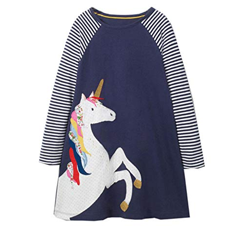 Vestido para niña de algodón, manga corta/larga, informal, estampado informal, 1-7 años A#01 5-6 Años