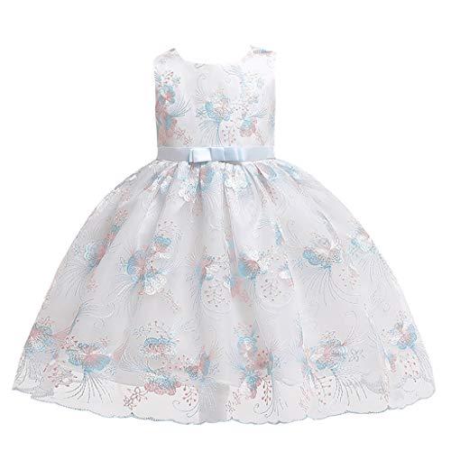YWLINK Vestido De Boda De La Princesa Mariposa del Bordado De La Malla Sin Mangas De Los NiñOs Traje del Piano De La Etapa Rendimiento La Moda Vestido De Fiesta Verano(Azul,5-6 años/140)