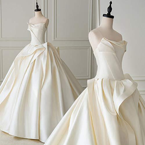 SWEETQT Vestido de Novia Vestido de Bola de satén Vestido de Novia con Pliegues Vestidos de Novia Sencillos Vestido de Noche de Encaje de Talla Grande Vestido de Princesa