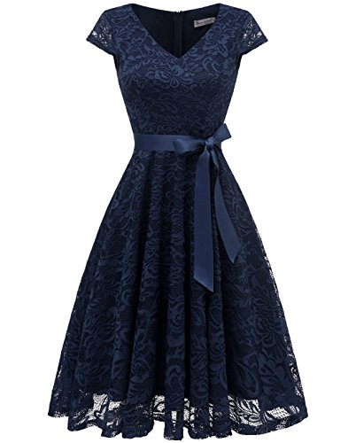 Berylove Mujer Encaje Corto Vestido Dama De Honor con Cinturón Escote V Vestido Cóctel Marino 3XL