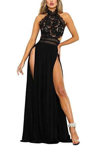 Vestido de Fiesta Sexy Mujer Largo de Encaje Elegante Laterales Aberturas Bodycon Sin Mangas de Noche Fiesta Banquete Cóctel Negro M
