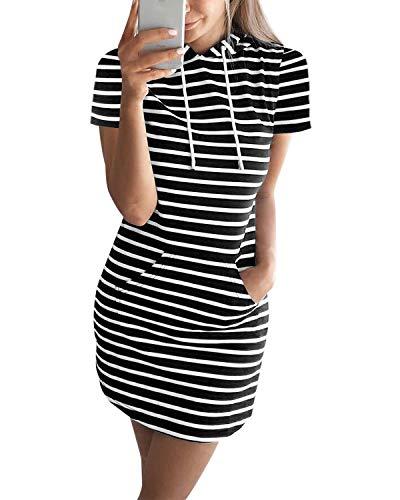 Auxo Mujer Vestido Sudadera Manga Corta Sudadera con Capucha Larga Verano Deportivo Rayas Talla Grande Túnica Camisa Larga Moda X-Negro M