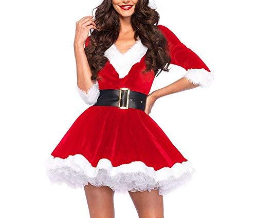 Disfraz Fever de Mamá Noel, Disfraz de Navidad Mujer Vestido Rojo de Terciopelo Princesa Traje de Santa Mamá Noel Fiesta Chicas Cosplay Christmas Ropa de Navidad Adulto (Rojo, M)