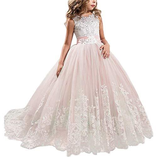 NNJXD Niñas Bordado De Encaje Flor De La Boda Fiesta De Cumpleaños Princesa Vestido de Cola Larga Tamaño (170) 14-15 años 406 Rosa-A
