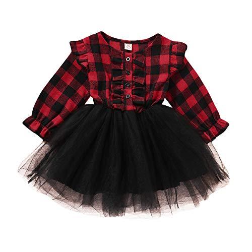 Eghunooye - Vestido de Navidad para niña, manga larga, con estampado de cuadros, con volantes, con botones y botones borgoña 2-3 Años