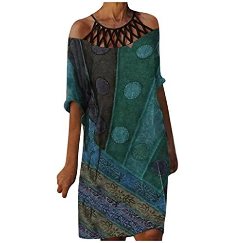 Vestido bohemio para mujer, retro, con hombros descubiertos, vestido de fiesta, vestido de mujer, elegante, largo hasta la rodilla, estilo bohemio, para adolescentes, chicas., verde, XL