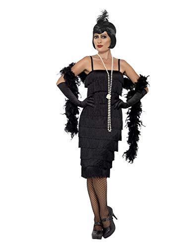 Smiffy'S 45502L Disfraz De Chica Años 20 Con Vestido Largo, Diadema Y Guantes, Negro, L - Eu Tamaño 44-46