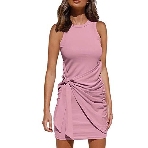 Vestido Casual Verano para Mujer Vestido Camiseta Sin Mangas Casuales Suelto Vestido Color Sólido hasta Rodillas para Diario Playa Vacaciones (Rosa Puro, XL)