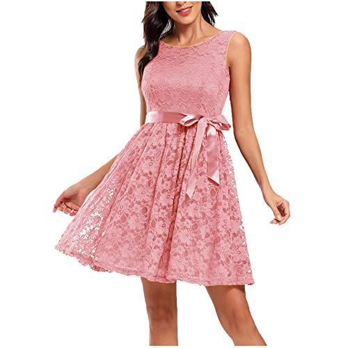 Vestido Mujer Retro Años 50 Cuello Redondo, Vintage Cóctel Rockabilly Clásico Novia Estilo Noche de Cintura Alta de Encaje de Moda con Cinturón de Princesa Vestido de Fiesta Graduación(C Rosa,L)