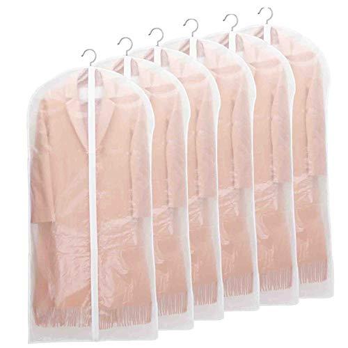 Niviy - Juego de 6 fundas transparentes para ropa de 60 x 140 cm, tejido transpirable, de alta calidad, para almacenamiento de trajes, vestidos, abrigos, americanas, camisas, vestidos de noche