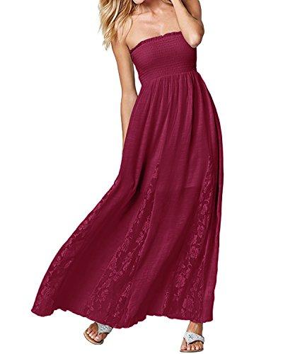 ACHIOOWA Mujer Vestido Cuello Palabra Encaje Punto Falda Sin Manga Playa Boda Suelto Elegante Dress Rojo-Vino 2XL