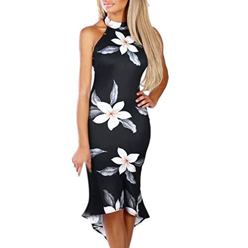 Vectry Vestidos Coctel Vestidos Casuales Sueltos para Mujer Vestidos Elegantes para Niña Moda Mujer 2019 Rebajas Vestidos Vestidos Cortos Verano 2019 Vestidos para Playa Mujer (_Negro, XL)