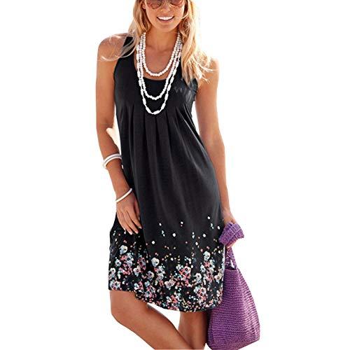Vestido de Verano Mujer Sin Mangas Cuello Redondo Vestido Playa Printed Vestido Casual Talla Grande Negro XL