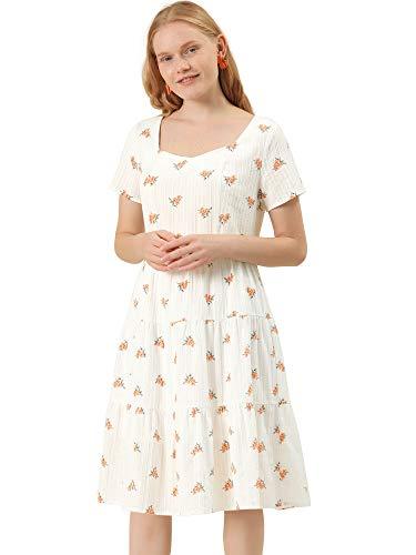 Allegra K Vestido Acampanado Midi Estilo Campesino con Escote Corazón Estampado Floral para Mujer Blanco L