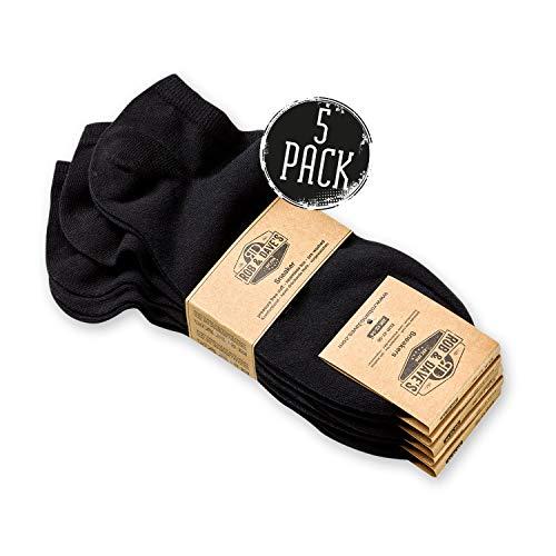 Rob & Dave's Calcetines de deporte corte bajo - 5 pares - Material certificado no tóxico - Negro blanco - Calcetines hombres y calcetines mujer - Calcetines deporte sin costuras incomodas ni opresión