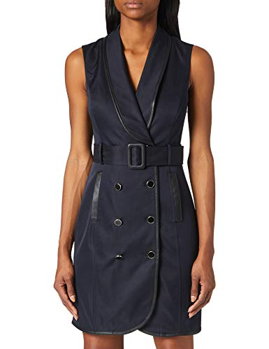 Morgan Robe Trench RISETTE Vestido Informal, Azul Marino, 40/Alto para Mujer