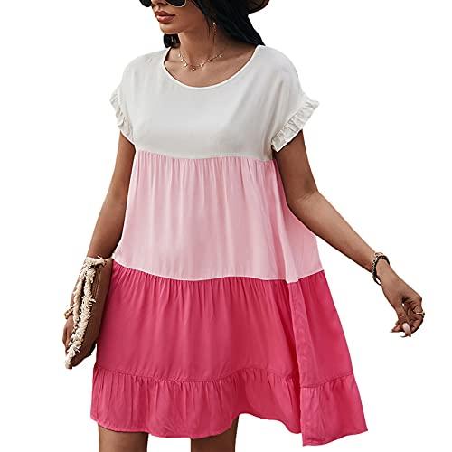 Jersey Informal De Primavera Y Verano para Mujer, Cuello Redondo, Costura, Color En Contraste, Manga Corta, Vestido Holgado para Mujer