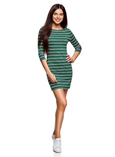 oodji Ultra Mujer Vestido de Punto a Rayas, Verde, ES 42 / L