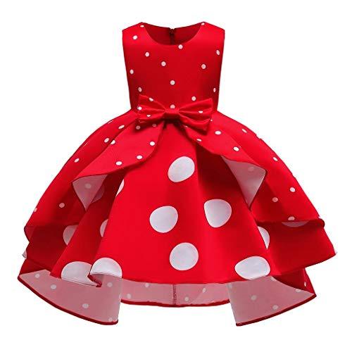 Lito Angels Disfraz Minnie Mouse para Niña, Vestido de Fiesta de Cumpleaños y Navidad Talla 6-7 años, Lunares Rojos