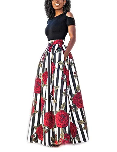 carinacoco Mujer Vestido Fiesta Manga Corta Vintage Floral Impresa Dos Piezas de Cóctel Fiesta Negro XL