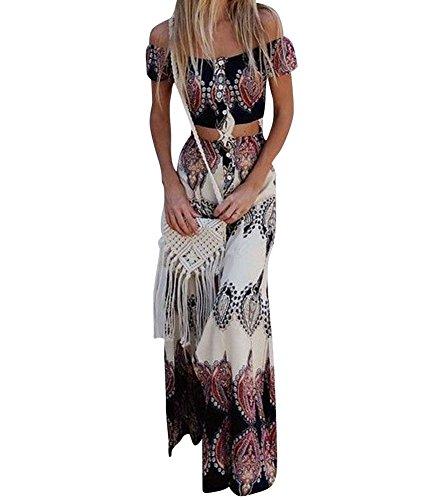 Vestido Boho Verano Mujer Conjunto de Falda para,Dos Piezas Conjunto de Falda para Arriba con botón Bowknot Holiday Beach Absolute M