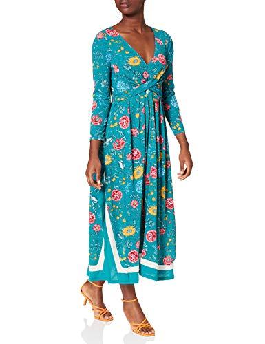 Springfield Vestido Midi Picos Cenefa, Verde, S para Mujer