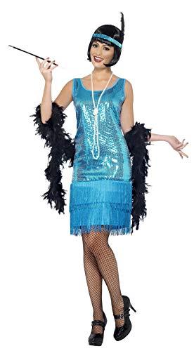 Smiffys Disfraz de chica joven coqueta años 20, con vestido azul cerceta, tocado y collar