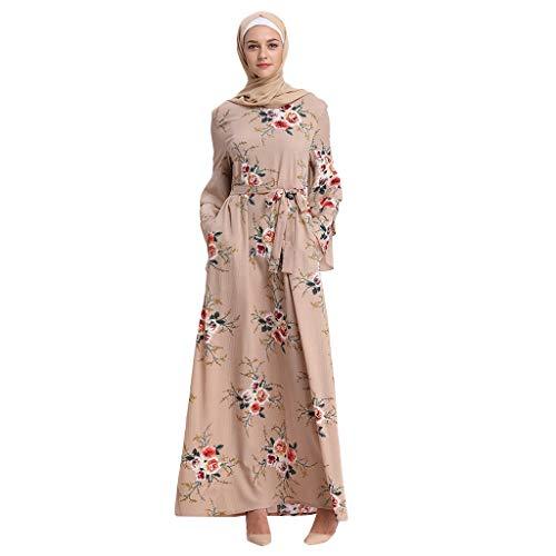 Abaya Musulmana Vestidos Musulmán Vestidos Dubai Turquia de Invierno Maxi Vestido Largos Suelta con Estampado Floral Islámica Árabe Kaftan Dubai para Las Mujeres Ropa Vestidos de Rayón
