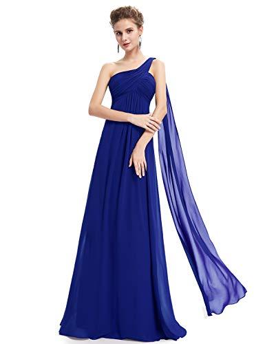 Ever-Pretty Vestidos de Noche Gasa Un Hombro Corte Imperio Plisado sin Mangas para Mujer Azul Zafiro 38