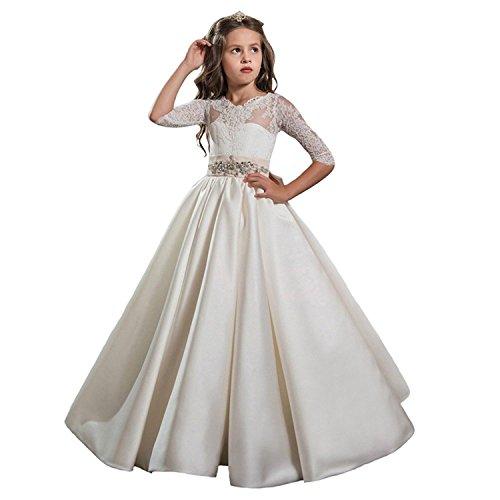 Auxico Satén La más Nueva Princesa Vestido de niña de Las Flores de Vestido Vestido de Primera comunión Vestido de Fiesta de la Boda (as pic, 11 años)