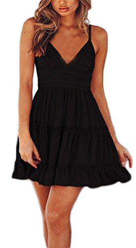 Vestidos Verano Mujer Cortos Elegantes con Encaje Vestidos Playa Ropa Dama Moderno Sin Mangas V Cuello Espalda Descubierta Vestidos Años 50 Moda Casual Vestido Corto (Color : Negro, Size : M)