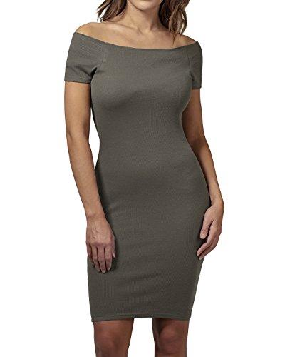 Urban Classics Ladies Off Shoulder Rib Dress Vestido, Verde (Olive 176), L para Mujer