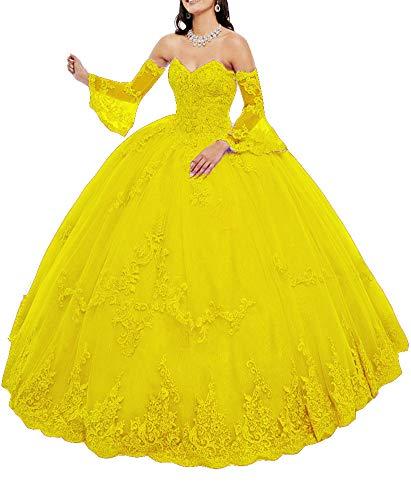 Snow Lotus Vestido de quinceañera con cuello de corazón para mujer con cuentas de tul vestido de bola