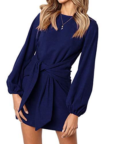kenoce Vestido de mujer de manga larga, cuello en V, línea A, vestido corto, suelto, camiseta de manga corta C1-azul marino L