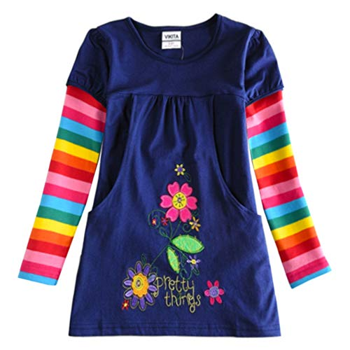 VIKITA Vestido Floral Manga Larga Algodón Niñas 2-8 años H5802Long 5T