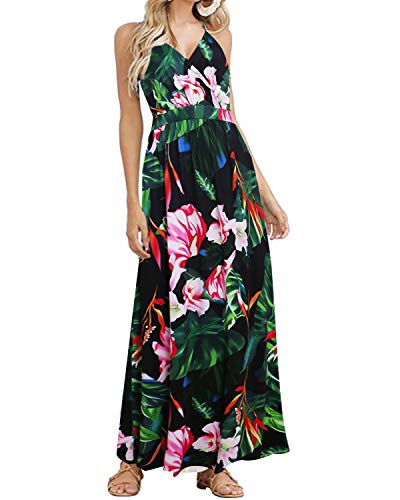 ACHIOOWA Mujer Vestido Elegante Casual Playa Lunares Bohemio Dress Cuello V Escote Fiesta Cóctel Falda Larga C58911-02 S