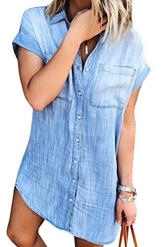 Vestidos Camisero de Denim para Mujer De Manga Corta Borlas Jeans Vestido Casual con Botones Azul XL
