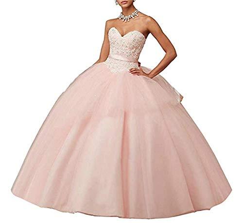 XUYUDITA Lace Appliques Ball Gown Vestido de Fiesta de Noche Beading Sequined Quinceanera Vestidos de Largo Rosa-38