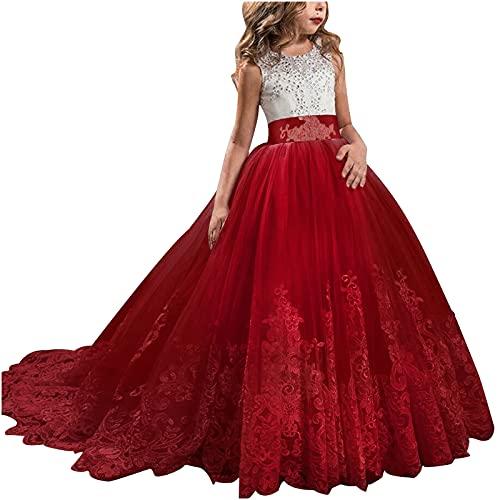 KMKM Vestido de niña de flores de princesa, vestido de fiesta para bodas, dama de honor, vestido de cóctel, vestido de noche, elegante, largo, rojo, 10-11 años