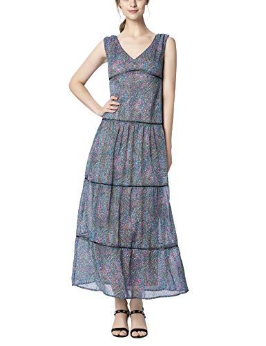 APART Fashion Dress with Volants Vestido, Azul (Petroleo/Multicolor Petroleo/Multicolor), 42 (Talla del Fabricante: 40) para Mujer