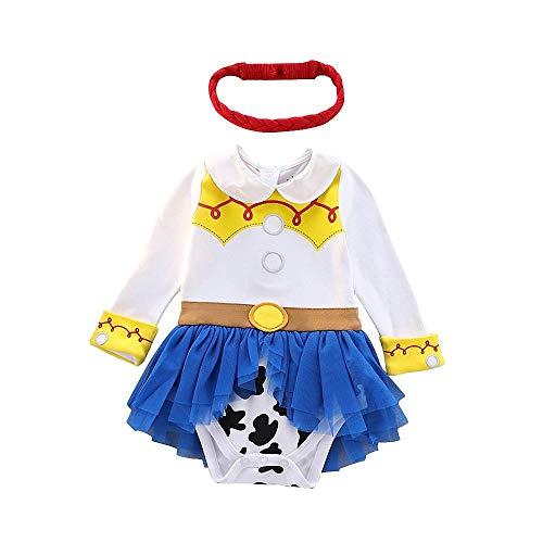 Lito Angels Disfraz de Jessie para Bebé Niñas Body Mono Mamelucos Onesie Vestido de Fiesta Navidad Halloween Cumpleaños con diadema Talla 6 a 9 Meses