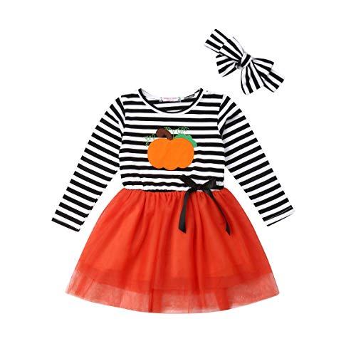 Vestido para Niña Bebé Recién Nacido Temático Vestido con Mangas Largas de Tul Estampado Dibujo Animado 1-6 Años para Fiesta (Calabaza, 5-6 Años)