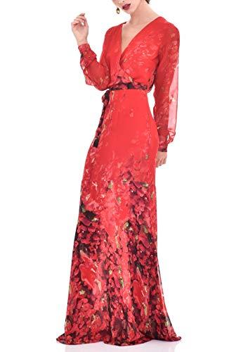 TONALA   Vestido Largo Mujer Fiesta Evento Verano Elegante Largo Estampado Chic   Vestido para Boda Largo Rojo   Vestido Elegante invitada Boda (Rojo, l)