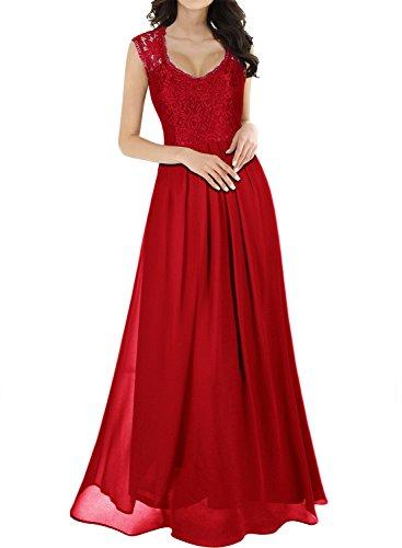 Miusol Vintage Chiffon Largo Fiesta Vestidos para Mujer Rojo Large